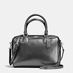 COACH MINI BENNETT SATCHEL IN METALLIC LEATHER - SILVER/GUNMETAL - F56125