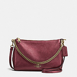CARRIE CROSSBODY IN METALLIC LEATHER - f56126 - IMITATION GOLD/METALLIC CHERRY