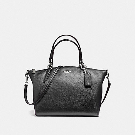 COACH f56127 SMALL KELSEY SATCHEL IN METALLIC PEBBLE LEATHER SILVER/GUNMETAL