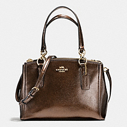 COACH MINI CHRISTIE CARRYALL IN METALLIC LEATHER - IMITATION GOLD/BRONZE - F56128