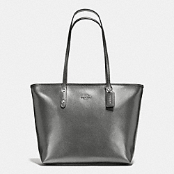 COACH CITY ZIP TOTE IN METALLIC CROSSGRAIN LEATHER - SILVER/GUNMETAL - F56129