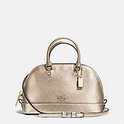 MICRO MINI SIERRA SATCHEL IN METALLIC CROSSGRAIN LEATHER - f56131 - IMITATION GOLD/PLATINUM