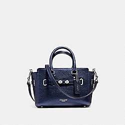 COACH MINI BLAKE CARRYALL IN METALLIC PEBBLE LEATHER - SILVER/METALLIC NAVY - F56138