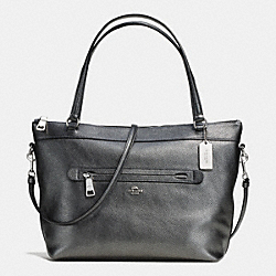 COACH TYLER TOTE IN METALLIC PEBBLE LEATHER - SILVER/GUNMETAL - F56140