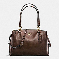 COACH SMALL CHRISTIE CARRYALL IN METALLIC CROSSGRAIN LEATHER - IMITATION GOLD/BRONZE - F56187