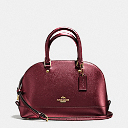 MINI SIERRA SATCHEL IN METALLIC CROSSGRAIN LEATHER - f56190 - IMITATION GOLD/METALLIC CHERRY