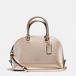 COACH MINI SIERRA SATCHEL IN METALLIC CROSSGRAIN LEATHER - IMITATION GOLD/PLATINUM - F56190