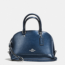 COACH MINI SIERRA SATCHEL IN METALLIC CROSSGRAIN LEATHER - SILVER/METALLIC MIDNIGHT - F56190