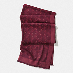 COACH HORSE AND CARRIAGE FOIL STAR OBLONG SCARF - BURGUNDY - F56200