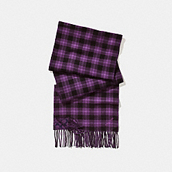 REVERSIBLE SIGNATURE PLAID DOUBLE FACE MUFFLER - AUBERGINE - COACH F56204