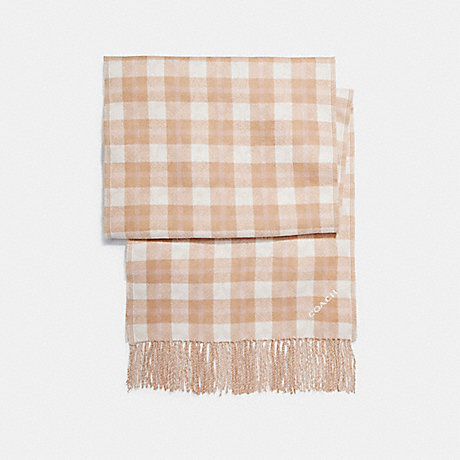 COACH REVERSIBLE SIGNATURE PLAID DOUBLE FACE MUFFLER - CARAMEL - f56204