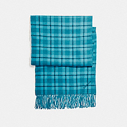 REVERSIBLE SIGNATURE PLAID DOUBLE FACE MUFFLER - DARK TEAL - COACH F56204