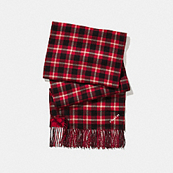 COACH REVERSIBLE SIGNATURE PLAID DOUBLE FACE MUFFLER - TRUE RED - F56204