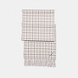 COACH REVERSIBLE SIGNATURE PLAID DOUBLE FACE MUFFLER - CHALK 2 - F56204
