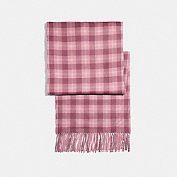 COACH REVERSIBLE SIGNATURE PLAID DOUBLE FACE MUFFLER - MELON - F56204