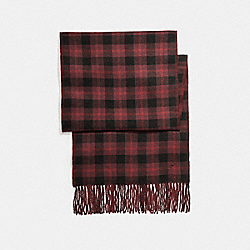 COACH REVERSIBLE SIGNATURE PLAID DOUBLE FACE MUFFLER - OXBLOOD - F56204