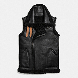 COACH REVERSIBLE SHEARLING VEST - BLACK/BLACK - F56213