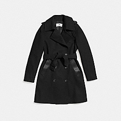 WOOL TRENCH - f56214 - BLACK