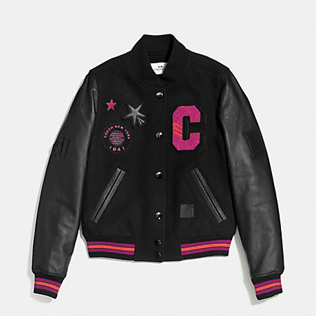 COACH ANIMATED BASEBALL JACKET - BLACK FUSCHIA - f56216