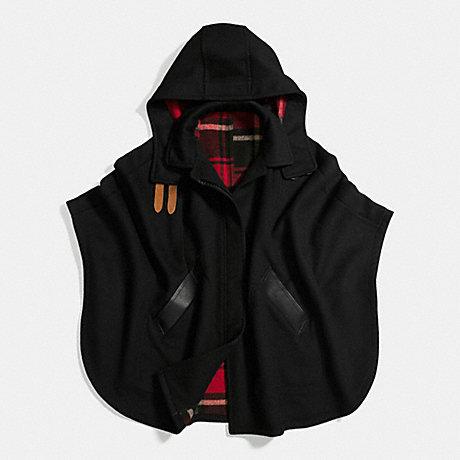COACH f56220 PLAID CAPE BLACK TRUE RED