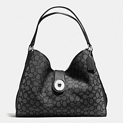 COACH CARLYLE SHOULDER BAG IN OUTLINE SIGNATURE - SILVER/BLACK SMOKE/BLACK - F56221