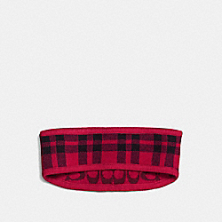 COACH REVERSIBLE SIGNATURE PLAID DOUBLE FACE HEADBAND - TRUE RED - F56232