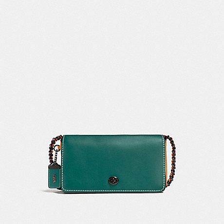 COACH DINKY IN COLORBLOCK - DARK TURQUOISE/LIGHT SADDLE/BLACK COPPER - F56263