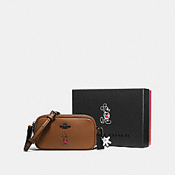 BOXED CROSSBODY POUCH WITH MICKEY - DK/SADDLE - COACH F56268