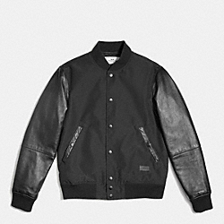 COACH VARSITY JACKET IN MIXED MATERIALS - BLACK/BLACK - F56276