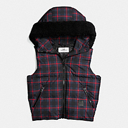 COACH RILEY PLAID PUFFER VEST - NAVY CRIMSON - F56287