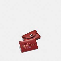 CARD CASE WITH REXY - SV/RED - COACH F56408