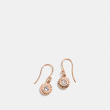 COACH f56417 OPEN CIRCLE STONE EARRING ON WIRE ROSEGOLD