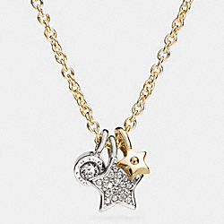 STAR AND DISC MIX CHARM NECKLACE - GOLD/SILVER - COACH F56422