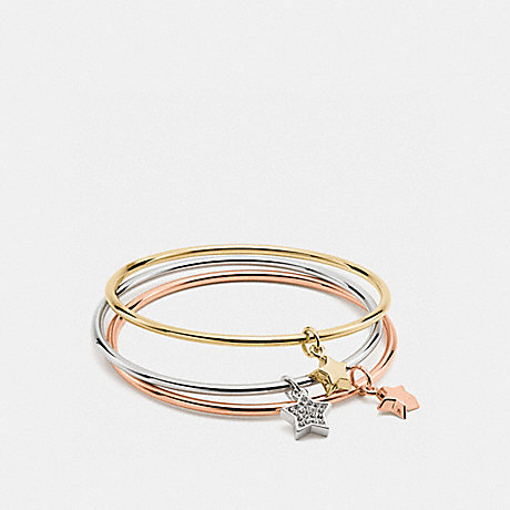COACH f56426 BOXED STAR CHARM BANGLE SET GOLD/SILVER