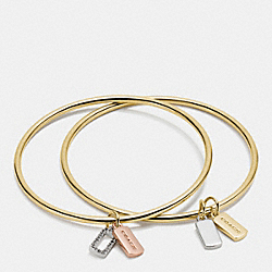 HANGTAG CHARM BANGLE SET - GOLD/SILVER ROSEGOLD - COACH F56433
