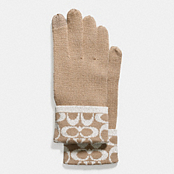 COACH METALLIC SIGNATURE JACQUARD TECH GLOVES - CAMEL - F56446