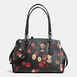 SMALL CHRISTIE CARRYALL IN HALFTONE FLORAL COATED CANVAS - f56469 - ANTIQUE NICKEL/BLACK MULTI
