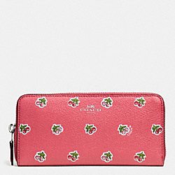COACH SLIM ACCORDION ZIP WALLET IN CHERRY PRINT CANVAS - SILVER/PINK MULTI - F56487