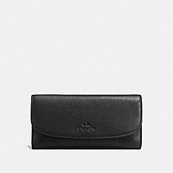 COACH CHECKBOOK WALLET IN PEBBLE LEATHER - IMITATION GOLD/BLACK - F56488