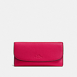 COACH CHECKBOOK WALLET IN PEBBLE LEATHER - IMITATION GOLD/BRIGHT PINK - F56488