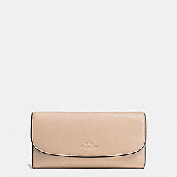COACH CHECKBOOK WALLET IN PEBBLE LEATHER - IMITATION GOLD/BEECHWOOD - F56488