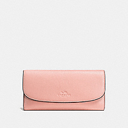 COACH CHECKBOOK WALLET IN PEBBLE LEATHER - SILVER/BLUSH - F56488