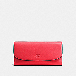 COACH CHECKBOOK WALLET IN PEBBLE LEATHER - SILVER/BRIGHT RED - F56488