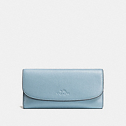 COACH CHECKBOOK WALLET IN PEBBLE LEATHER - SILVER/CORNFLOWER - F56488