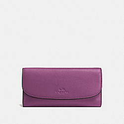 COACH CHECKBOOK WALLET IN PEBBLE LEATHER - SILVER/MAUVE - F56488
