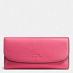 COACH CHECKBOOK WALLET IN PEBBLE LEATHER - SILVER/STRAWBERRY - F56488