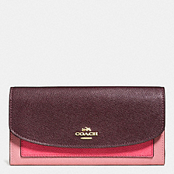 COACH SLIM ENVELOPE WALLET IN GEOMETRIC COLORBLOCK CROSSGRAIN LEATHER - IMITATION GOLD/STRAWBERRY/OXBLOOD MULTI - F56492