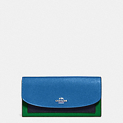 SLIM ENVELOPE WALLET IN GEOMETRIC COLORBLOCK CROSSGRAIN LEATHER - f56492 - SILVER/LAPIS