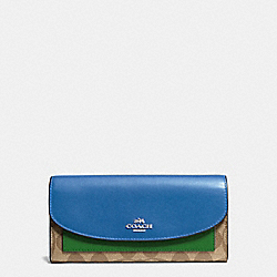 SLIM ENVELOPE WALLET IN COLORBLOCK SIGNATURE COATED CANVAS - SILVER/KHAKI - COACH F56494