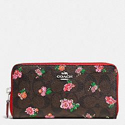 COACH ACCORDION ZIP WALLET IN FLORAL LOGO PRINT COATED CANVAS - SILVER/BROWN RED MULTI - F56496